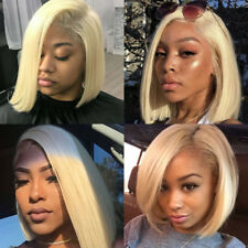 Human hair wig blonde straight short lace frontal wigs remy brazilian bob style