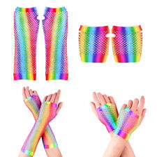 1 Pair Colorful Retro Women Stretchy Fishnet Net Fingerless Gloves for 80s Party