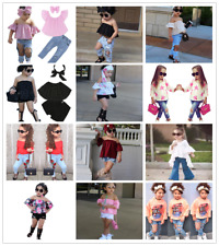 3PCS Toddler Kids Baby Girls Clothes Tops+Jeans/Pants +Headband Outfits Set