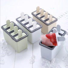 Silicone Frozen Ice Cream Mold Juice Popsicle Maker Ice Mould 4 Cell DIY