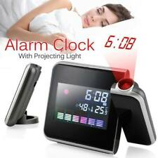 Digital LED Snooze Alarm Clock Projector Time Weather Thermometer LCD Color