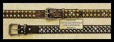 Nocona ~PYRAMID STUD BELT~ Black-Silver, Brown/Amber-Gold 81