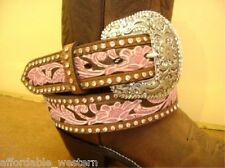 Hand-Painted, Tooled Leather~WESTERN BELT~Crystals PINK 82