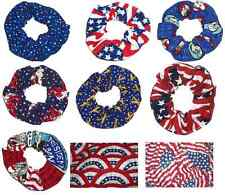 Hair Scrunchie Patriotic Flag USA Eagle Tie Ponytail Holder Scrunchies by Sherry