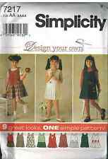 7217 UNCUT Vintage Simplicity SEWING Pattern Girls Jumper Design Your Own OOP FF