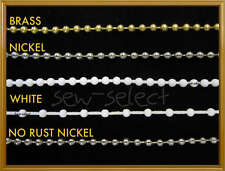 Roller blind metal chain white beaded cord silver brass - SOLD PER METRE