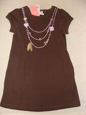 Gymboree COWGIRLS AT HEART Brown Peace Feather Heart Necklace Dress NWT 3