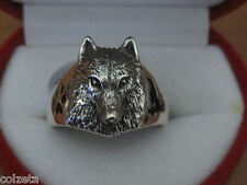 WOLF RING   sterling silver & inlaid with ENAMEL by Peter Stone  - Beautiful !!