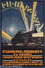 1925 AUTOMOBILE CAR RACE 24 HOURS GRAND PRIX ENDURANCE VINTAGE POSTER REPRO