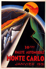 1931 RALLY AUTOMOBILE MONTE CARLO MONACO ROADS CAR RACE VINTAGE POSTER REPRO