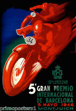 BARCELONA 1946 GRAND PRIX RED BIKE SPAIN MOTORCYCLE RACE VINTAGE POSTER REPRO