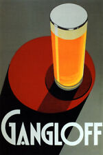 GLASS PILSNER ALE LIGHT BEER GANGLOFF ART DECO ALCOHOL FINE VINTAGE POSTER REPRO