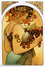 GRAPES WINE FRUITS FLOWERS GIRL LADY BY ALPHONSE MUCHA NICE VINTAGE POSTER REPRO
