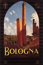 ITALY BOLOGNA TWO TOWERS LANDMARK OF THE CIY MEDIEVAL BUILD VINTAGE POSTER REPRO