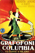 ITALY GRAMOPHONE COLUMBIA MUSIC COUPLE DANCING VINYL RECORD VINTAGE POSTER REPRO