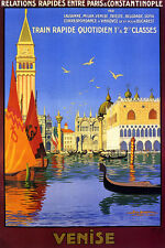 VENICE CANAL GONDOLA BOAT DOGE'S PALACE ITALY TRAVEL VINTAGE POSTER REPRO