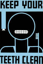 KEEP YOUR TEETH CLEAN POSTER TOOTH BRUSH REPRO POSTER