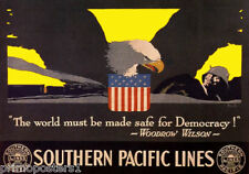 AMERICAN EAGLE WORLD SAFE FOR DEMOCRACY WOODROW WILSON USA VINTAGE POSTER REPRO