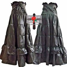 SteamPunk Victorian Gothic Visual Kei Blacks  NOIR High-Waist Satin Corset Skirt