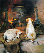 DOG FIRE WARMING PAINTING BY HEARTH STRETTON FINE ART REPRO ON PAPER OR CANVAS