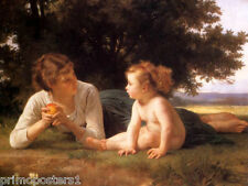 TEMPTATION MOTHER LITTLE GIRL IN THE FIELD I880 PAINTING BY BOUGUEREAU REPRO