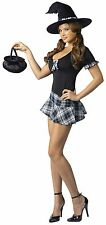 Saucy School Girl Witch Halloween Fancy Dress Costume Dress Outfit
