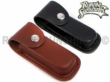 Leather Folding Knife Sheath Pouch Black or Brown - Sizes S/M/L
