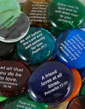 Colored Glass Imprinted Christian Scripture Stones - Sayings A thru E