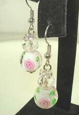 11.5mm Murano-Inspired Lampwork Glass Crystal Rhinestone Dangling FH Earrings