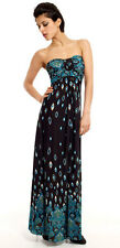 LADIES LONG BLUE EVENING PARTY DRESS BANDAU STYLE MAXI EMPIRE WAIST NEW 8-10-12