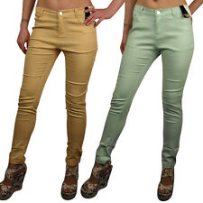 Ladies Sexy Coloured Stretch Trousers Pants Skinny Relax Fit Jeans Turn Up Size