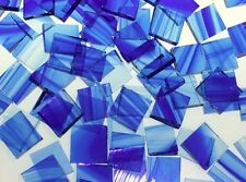 BLUE & CLEAR BAROQUE handcut stained glass mosaic tiles #187