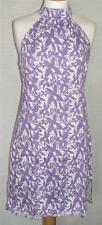 TRESPASS LILAC/WHITE STRETCH-FABRIC HALTER-NECK DRESS S M L XL (UK 8-16) NEW