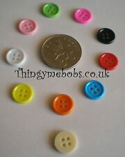 10x 12mm 4 HOLE BUTTONS CRAFT BUTTONS/EMBELLISHMENTS - COLOUR OPTIONS