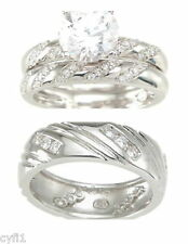 925 Sterling Silver CZ His Hers Engagement Wedding Ring 3 Pc Set