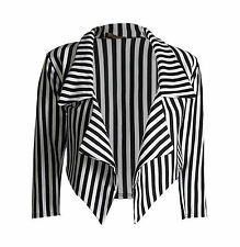 NEW LADIES OPEN BLACK AND WHITE STRIPED CROPPED WATERFALL BLAZER JACKET 6-12
