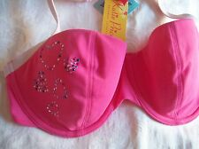 BNWT KATIE PRICE HOT PINK HEARTS UNDERWIRED BIKINI TOP CUP SIZES 32D-34DD WOW!