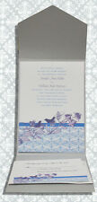 Elegant Embossed Silver Pocket Folder Wedding Invitations Pkg