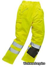 Hi Vis Polycotton Work Workwear Action Kneepad Combat Trouser Yellow