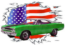 1970 Green Plymouth Road Runner Custom Hot Rod USAT T-Shirt 70, Muscle Car Tee's