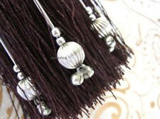 Brown & silver key tassel with silver decorative beads - Large beaded tassel
