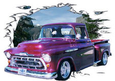 1957 Burgundy Chevy Pickup Truck Hot Rod Mountain T-Shirt 57, Muscle Car Tee's
