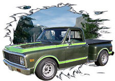 1972 Green Chevy Pickup Truck Custom Hot Rod Mountain T-Shirt 72, Muscle Car T