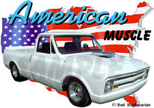 1967 White Chevy Pickup Truck Custom Hot Rod USA T-Shirt 67, Muscle Car Tee's