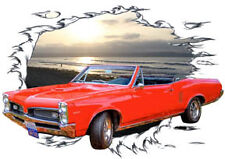 1967 Red Pontiac LeMans Convertible Hot Rod Sun Set T-Shirt 67, Muscle Cars Tee