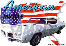1970 White Pontiac GTO JUDGE Custom Hot Rod USA T-Shirt 70, Muscle Car Tee's