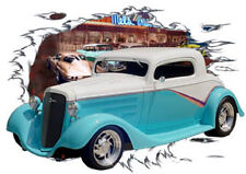 1934 White Chevy Coupe 3 Window Custom Hot Rod Diner T-Shirt 34, Muscle Car Tee
