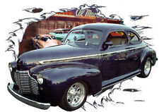 1941 Blue Chevy Coupe a Custom Hot Rod Diner T-Shirt 41, Muscle Car Tee's