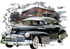 1948 Black Chevy FleetLine Custom Hot Rod Garage T-Shirt 48, Muscle Car Tee's