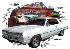 1965 White Chevy Chevelle Custom Hot Rod Diner T-Shirt 65, Muscle Car Tee's